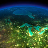 Night Earth. A piece of America - the northern U.S. states and C Stock Photo