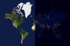 Night light in the cities on planet world map view from space stock night in the east day in the west world map vector illustration stock photos gumiabroncs Images