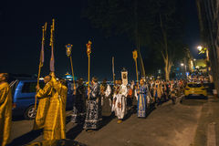 Night Easter procession in Parish of Sainted New Martyrs and Confessors of Russia at Russian Orthodox Church. Royalty Free Stock Photos
