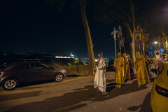 Night Easter procession in Parish of Sainted New Martyrs and Confessors of Russia at Russian Orthodox Church. Royalty Free Stock Photography