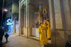 Night Easter procession in Parish of Sainted New Martyrs and Confessors of Russia at Russian Orthodox Church. Stock Images
