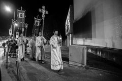 Night Easter procession  in Parish of Sainted New Martyrs and Confessors of Russia at Russian Orthodox Church. Royalty Free Stock Images