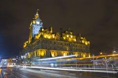 Night in Edinburgh. The night view of the street in Edinburgh city, Scotland Royalty Free Stock Photography