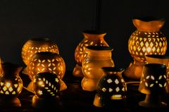 Night effects. Pots with slits and lights beautiful Royalty Free Stock Photos