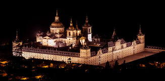 Night at El escorial. Beautiful view of the Monastery of San Lorenzo de El Escorial Royalty Free Stock Images