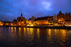 Night embankment, the city of Gdansk, Poland Royalty Free Stock Image