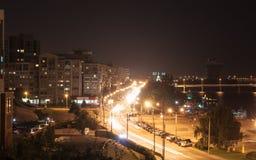 Night embankment Dnepropetrovsk city Royalty Free Stock Photos