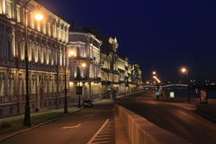 Night embankment of the river Neva in St. Petersburg Stock Photo