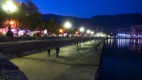 Night Embankment of Yalta, Crimea. TimeLapse. Night Embankment of Yalta, Crimea. Time Lapse. Lanterns illuminate the sidewalk, a crowd of people of tourists stock video