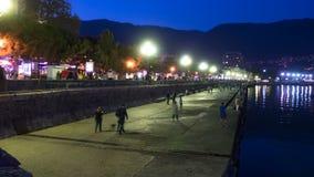 Night Embankment of Yalta, Crimea. TimeLapse. Night Embankment of Yalta, Crimea. Time Lapse. Lanterns illuminate the sidewalk, a crowd of people of tourists stock video footage