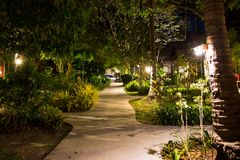 Night, empty footpath through the village in the jungle. Lots of greenery, wooden houses. Lamps from wood on long palm trees.  royalty free stock photo