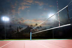 Free Night Empty Professional Volleyball Open Air Court With Net Royalty Free Stock Images - 78544719