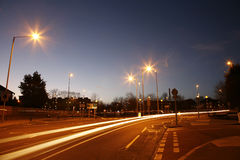 The night, empty road a littlel town Royalty Free Stock Photos