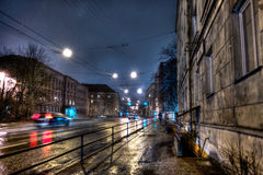 Night in Endla Street in Tallinn, winter, night. Night city lights blurred, bokeh background Royalty Free Stock Photography