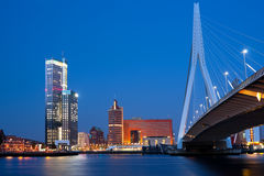 Night Erasmus bridge in Rotterdam Royalty Free Stock Photos