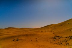 Night in Erg Chebbi Sand dunes near Merzouga, Morocco Royalty Free Stock Image