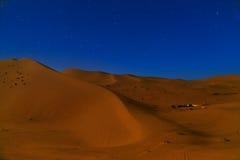 Night in Erg Chebbi Sand dunes near Merzouga, Morocco Royalty Free Stock Images