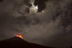 Free Night Eruption. Tungurahua Volcano, Banos, Cordillera Occidental Royalty Free Stock Photos - 37436338