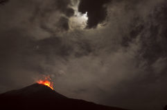 Night eruption. Tungurahua Volcano, Banos, Cordillera Occidental. Of the Andes of central Ecuador, South America Royalty Free Stock Photos