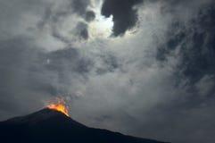 Night eruption. Tungurahua Volcano in Ecuador Royalty Free Stock Photos