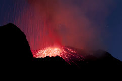 Night eruption, volcano Stromboli Stock Photos
