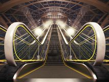 Night escalator. Close-up of illuminated modern escalator Royalty Free Stock Images