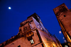 Night in Essaouira. Night view of a typical building in Essaouira Royalty Free Stock Photos