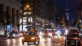 Night establishing shot of Manhattan city traffic