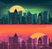 Night and evening city landscape. Skyline with skyscrapers. Flat city. Vector. Illustration Royalty Free Stock Photography
