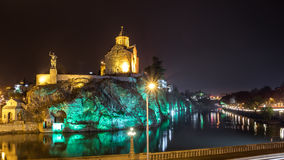 Night Evening Illuminated View Of The Metekhi Church And The Equ Stock Photo