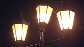 Night evening lamp snow. Night Winter Street Lamp With Falling Snow Close up stock footage