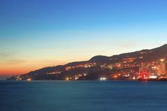 Night evening view to the bay and cityscape of Royalty Free Stock Image