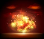 Night explosion background banner. Explosion sparkling glow bursting in the night darkness with bright flashes background banner abstract vector illustration Royalty Free Stock Photo