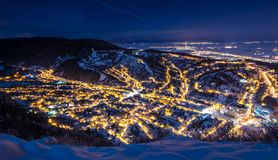 A night exposure over old part of Brasov royalty free stock image