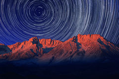 Night Exposure Star Trails of the Sky in Bishop California Stock Photography