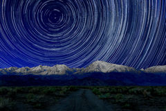 Night Exposure Star Trails of the Sky in Bishop California. Vortex Night Exposure Star Trails of the Sky in Bishop California stock photos