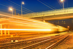 Night express train. In Hungary Stock Image