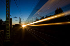 The night express train. The night express train, the next from St. Petersburg to Moscow Stock Image