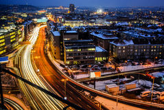 Night expressway in the city. Prague main road from birds perspective on long time exposure. Stock Photos