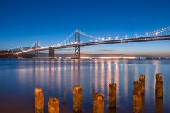 Blue hour over the Bay Bridge stock photography