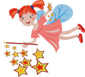 Night fairy. Night background with redhead funny fairy Stock Photography