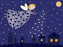 Night fairy. Flying over houses and bringing fairy tales to kids Stock Photos