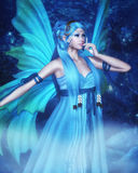 Night Fairy. Computer graphics scene with fairy girl in the bright blue dress with long blue hair and big blue wings in the night fairy-tale forest Royalty Free Stock Images