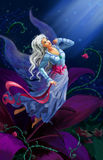 The night fairy flying to the moon Stock Photography