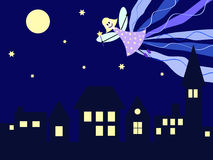 Night fairy over the city. A fairy flying trough the night above the city Stock Images