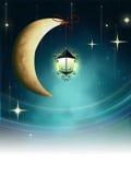 Night fairy tale. Lantern on a crescent moon