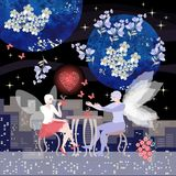 Night fairy tea party in cafe on roof with view to city. Beautiful winged man and woman on a date. Romantic vector illustration stock illustration