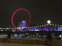 Night fairy wheel of London Eye stock photos