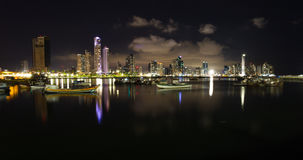 Night fall in Panama City, Panama Royalty Free Stock Image