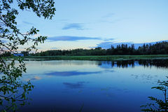 Night fall on a pond Royalty Free Stock Photography